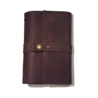 Кожаный блокнот Бордо 240страниц на 2 блока планер ежедневник органайзер А5 недатированный