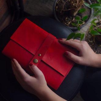 Кожаный блокнот Красный 240страниц на 2 блока планер ежедневник органайзер А5 недатированный