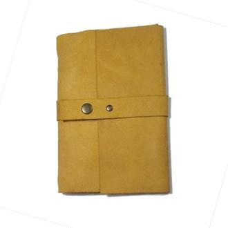 Кожаный блокнот Желтый 120страниц недатированный планер ежедневник органайзер А5
