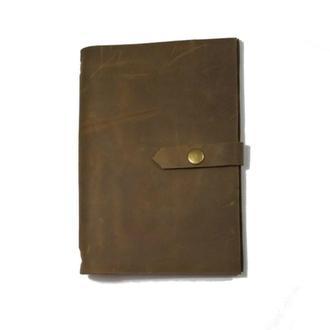 Блокнот из натуральной кожи 120страниц недатированный планер ежедневник органайзер А5 Олива