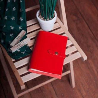 Блокнот из натуральной кожи 120страниц недатированный планер ежедневник органайзер А5 Красный