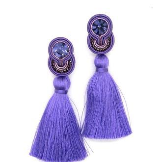 Серьги кисточки фиолетового цвета