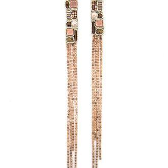 Длинные серьги со стразами Геометрия розовое золото