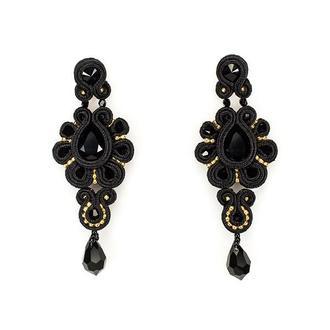 Серьги подвески черные с кристаллами Swarovski