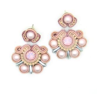 Серьги пудрово-розовые с жемчугом