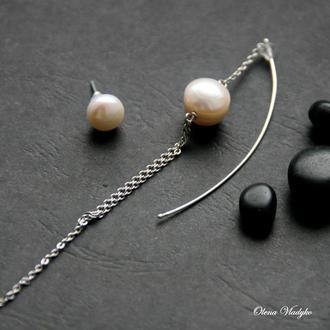 Серебряные серьги с жемчугом, моносерьга, длинные серебряные серьги