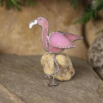 Брошь розовый фламинго