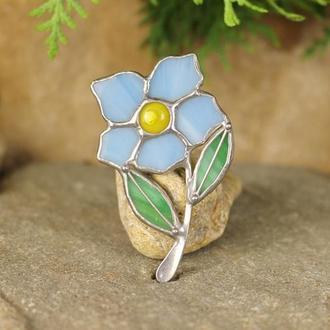 Брошь голубой цветок Подарок на День матери