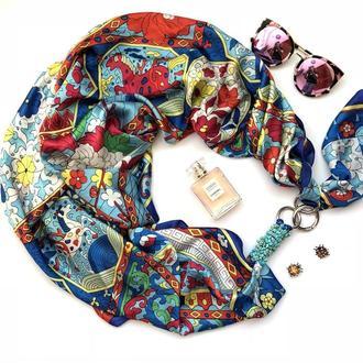 """Шелковый шарф  """"Бирюзовые грезы"""" , платок, шарф-колье, шарф-чокер, шейный платок"""