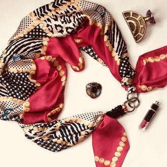 """Атласный большой шарф """"Малиновые грезы"""",  атласный платок,  шелковый платок ,шарф-колье"""