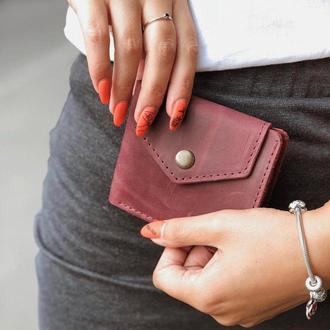 Винтажный кошелек, маленький кошелек из кожи, кошелек женский, компактный кошелек