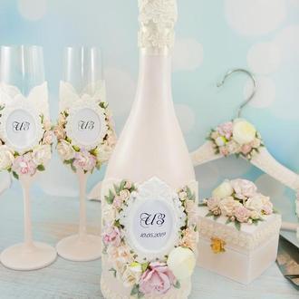 Свадебное шампанское пудровое / Оформление шампанского / Весільне шампаське рожеве