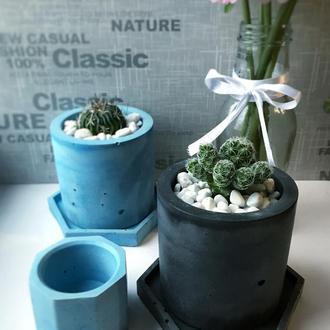 Бетонні кашпо горщики для квітів сукулентів кактусів Т1 / Бетонные кашпо из бетона для цветов Т1