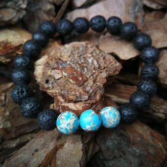 Браслет из Натурального камня Вулканическая Лава + Варисцит