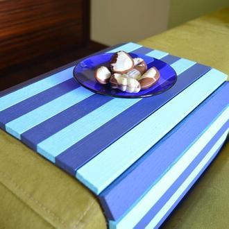 """Деревянная накладка-столик на подлокотник дивана (""""Сине-голубой"""") #2i2ua"""