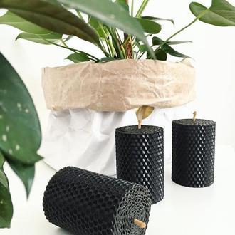 Набор из трех стильных свечей черного цвета для дома и декора интерьеров, в подарочной упаковке