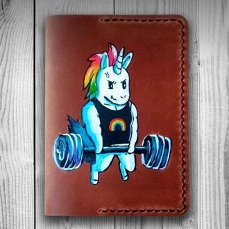 Кожаная обложка для паспорта Единорог, Обложка на паспорт Unicorn