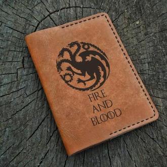 Кожаная обложка для паспорта, Игра престолов, Game of Thrones, Fire and Blood