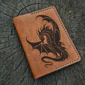 Кожаная обложка для паспорта Дракон, Обложка на паспорт The Dragon