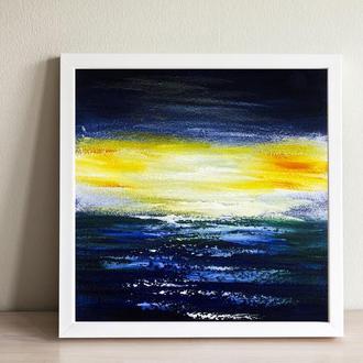 Море в далеке (картина масло/оргалит) 20х20 см