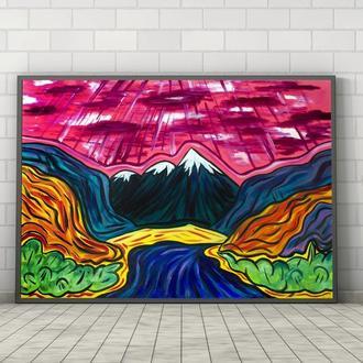 Кольоровий пейзаж (картина масло/полотно) 60х80х2 см