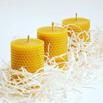 Набор из трех восковых свечей, для подарков, дома и декора