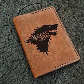 Кожаная обложка для паспорта, Игра престолов, Game of Thrones, Winter is Coming