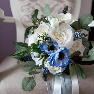 букет невесты из реалистичных искусственных цветов