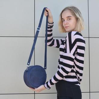 Круглая кожаная сумочка. Кожаная женская сумочка.