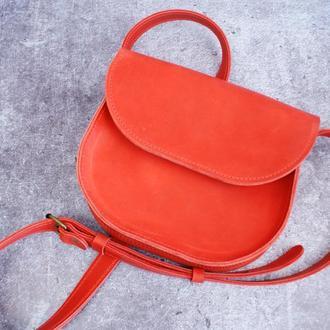 Кожаная женская сумка через плечо Маленькая кожаная сумочка (красного цвета)