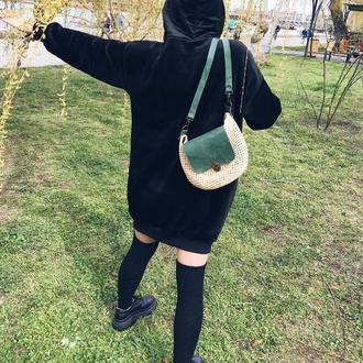 Женская сумка из рафии+кожаный клапан
