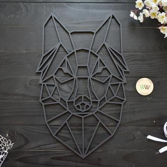 """Настенное панно """"Волк"""", геометрия. Полигональная картина из дерева"""