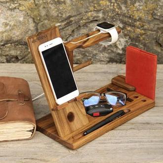 Деревянная Подставка Органайзер Apple Для Телефона iPhone Смартфона Часов iWatch AirPods iPad Очков