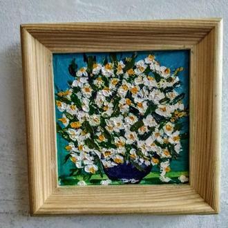 мини картины Ромашки полевые в кувшине, 10*10 см
