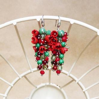 Красно зеленые цветочные серьги, серьги с цветами, серьги грозди, вечерние серьги