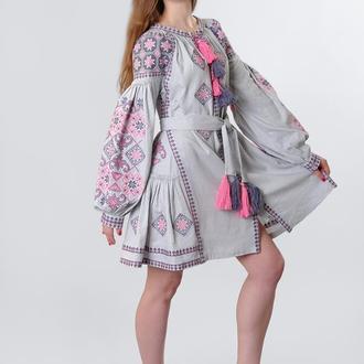 """Вышитое платье """"Косив"""" мини, лен"""