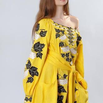 """Платье """"Калина"""" мини, желтый лен"""