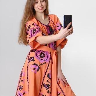 """Вышитое платье """"Розы"""" мини, персиковое"""