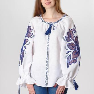 """Блуза вышитая """"Диво-квітка"""", белый лен"""