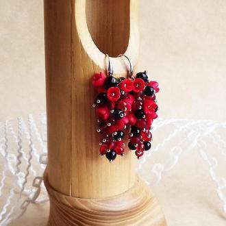 Красно черные цветочные серьги, серьги с цветами, серьги грозди, вечерние серьги