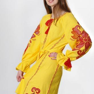 """Вишите плаття """"Диво-квітка"""" міні, жовтий льон"""