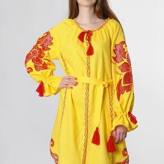 """Вышитое платье """"Диво-квітка"""" мини, желтый лен"""