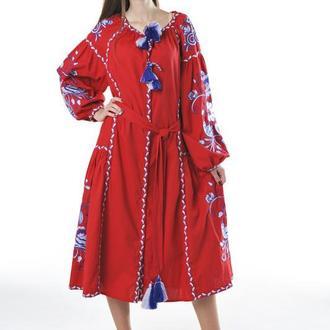 """Вышитое платье """"Птицы"""" миди, лен красное"""