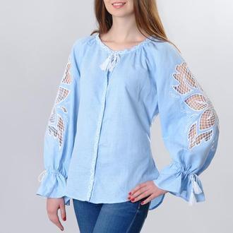 "Блуза вышитая ""Диво-квітка"", голубой лен"