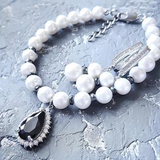 Комплект  з натуральних перлів браслет та сережки з цирконами браслет и серьги из жемчуга