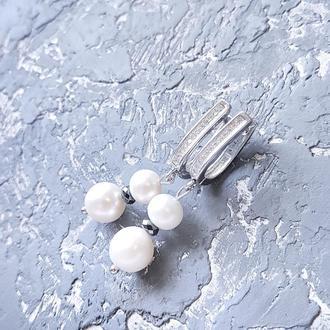 Сережки з натуральними перлами гематитом і кристалами серьги с жемчугом и кристаллами