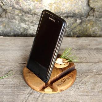 Деревянный Держатель Органайзер Подставка Для Телефона iPhone Планшета Смартфона iPad Из Дерева Мужу