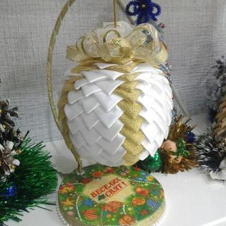 """Интерьерный новогодний шар в технике """"канзаши"""""""