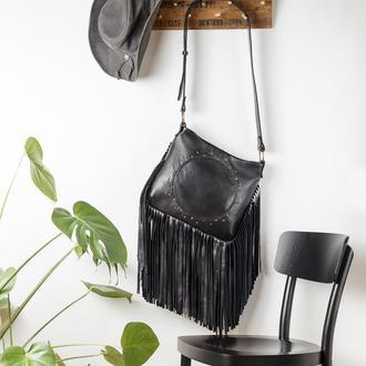 Сумка с бахромой, Большая кожаная сумка, Сумка через плечо
