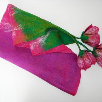 """Шарф-бактус """"Розовый тюльпан"""" из мериносовой шерсти"""
